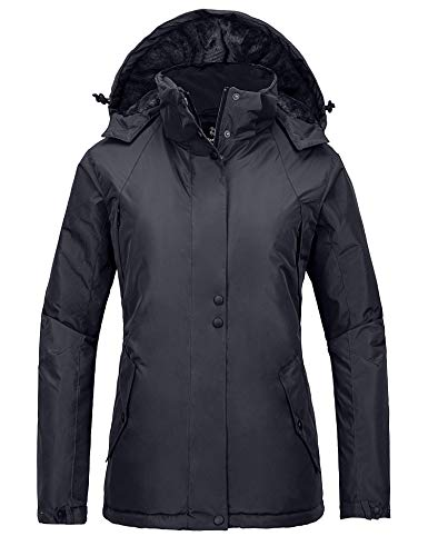 Wantdo Womens Quilted Winter Warm Puffer Coat with Removable Hood Dark Grey S