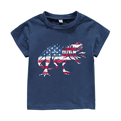 Camiseta para niños y niñas, diseño de dinosaurio americano, bandera de Estados Unidos, 4 de julio, para bebés y niños, para el día de la independencia, ropa patriótica,...