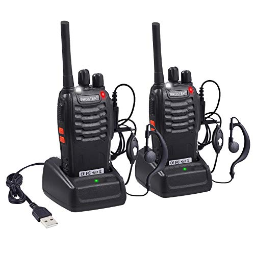 Proster 1 paire Walkie Talkies Rechargeable 16 Canaux Talkie Walky Lampe de...