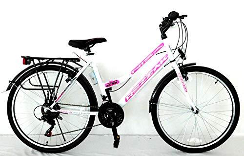 Rezzak 26 Zoll Mädchen Fahrrad Damen Fahrrad Citybike 21 Gang Shimano Drehschaltung RH ca 47cm Weiss pink -050