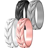 ThunderFit Silicone Rings for Women 4 Rings - Leaf Design Wedding Bands (White, Black, Rose Gold, Gray, 8.5 - 9 (18.9mm))
