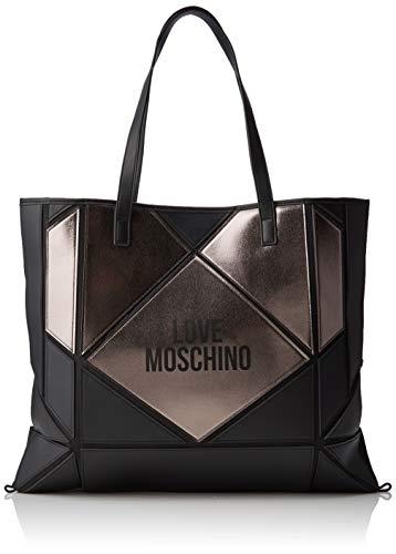 Love Moschino Unisex-Erwachsene Jc4120pp18lx100b Tote-Bag, Schwarz (Nero/Fucile), 37x2x45 Centimeters