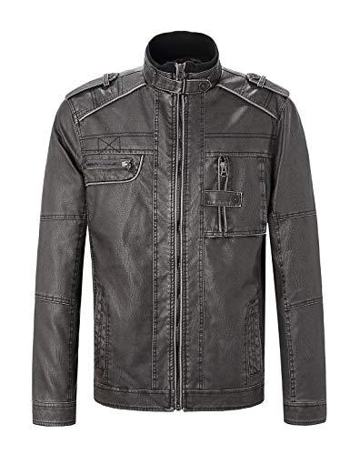 Escalier Men's Leather Motorcycle Biker Vintage Distressed Faux Leather Moto Jacket Black M