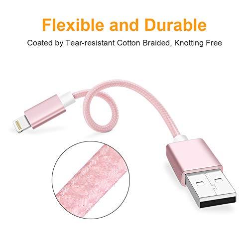 [Apple MFi Zertifiziert] , Lightning micro usb Kabel,CableCreation 0.5 Ft kurz Lightning auf USB Daten Sync Kabel [MFi zertifiziert] Kompatibel mit iPhone X, 8, 8 Plus, 7, 7 Plus, 6S, 6S Plus, iPad,usw. 15CM, Rose gold