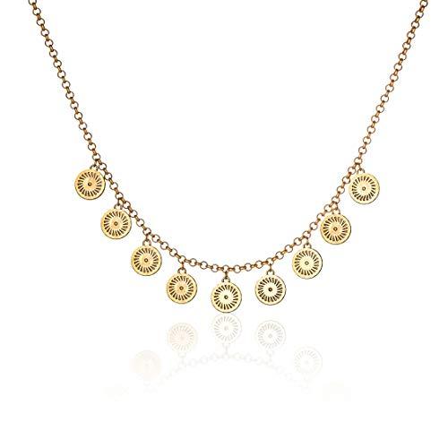 Honey Minx Women's Radiant Sun Coin Pendant Necklace Gold