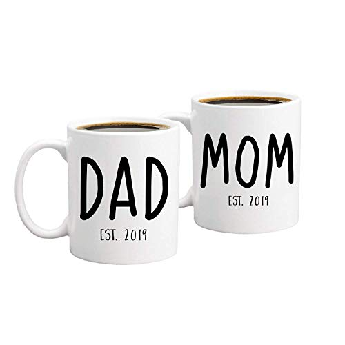 TK.DILIGARM New Parents Pregnancy 2019 Announcement Coffee Mug Set 11oz - Unique Christmas Gift for Parents To Be Present for Baby Showers - Mom And Dad Gift
