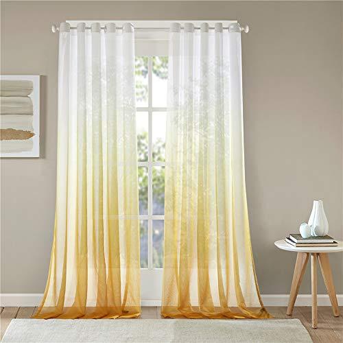 Lindong - Cortina de gasa transparente con ojales, color degradado, para dormitorio o salón, 1 unidad, tela, amarillo, 140x245 (BxH), Stück x1