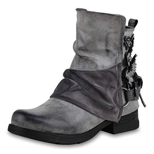 SCARPE VITA Damen Stiefeletten Biker Boots Metallic Leicht Gefütterte Schuhe 169155 Grau Blumen Leicht Gefüttert 37