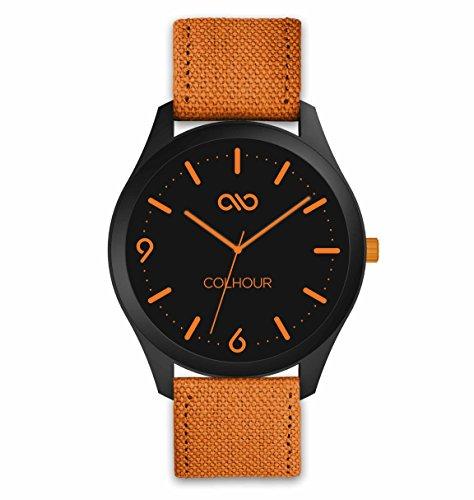 Colhour Watches–Orologio da polso unisex con cinturino in tessuto, qualità premium, progettato e realizzato in Spagna e con meccanismo giapponese Miyota by Citizen arancione