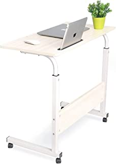 KONFOLON 80 X 40cm Laptop Table Desk Stand Mobile Computer Workstation Height Adjustable with Phone Holder Rolling Wheel M...