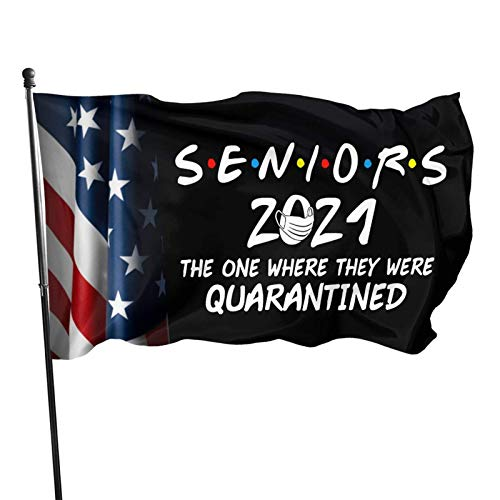 The One Where They were Quarantined Seniors 2021 Graduation Flags 3x5 Outdoor Indoor Banner Flag House Garden Decor