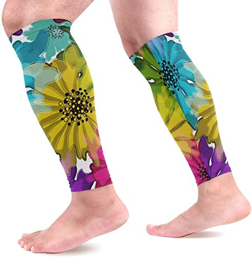 IMERIOi Colorful Floral Motley Pattern Calf Compression Sleeves Shin Splint Support Leg Protectors Calf Pain Relief for Running, Cycling, Travel, Sports for Men Women (1 Pair)