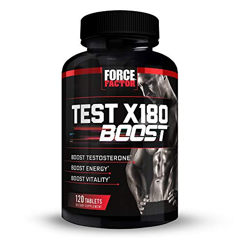 Test X180 Boost Testosterone Booster for Men with Fenugreek, D-Aspartic Acid (DAA), Tribulus, and Black Maca to Boost Total Testosterone, Energy, and Vitality, Force Factor, 120 Tablets