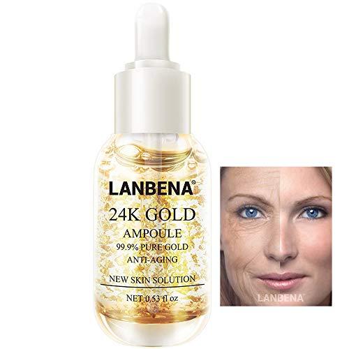 LANBENA 24K Gold Collagen Ampoule Lifting Serum for Removes Melanin Improve Dark Spots+Firming Flexible+Anti Aging Anti Wrinkle (0.53 fl oz)