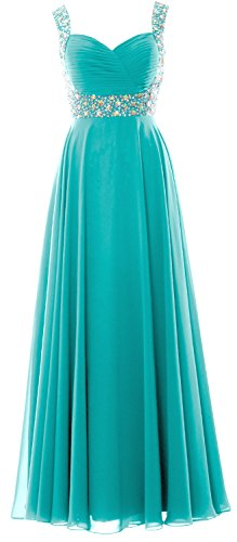 MACloth Women Straps Crystal Chiffon Long Prom Wedding Party Dress Evening Gown (38, Turquoise)