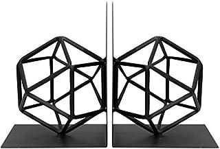 Agirlgle Bookends Decorative Book Ends Metal black Heavy Duty Bookend Modern geometric design Book end Bookshelf Decor for...