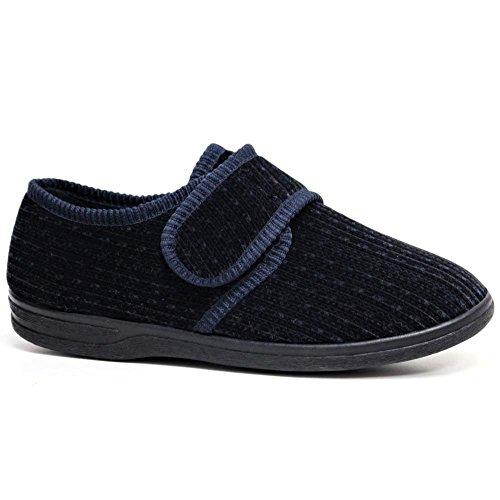 Zapatillas ortopédicas para diabéticos, para hombre, con cierre de velcro de ajuste ancho, color Azul, talla 40 2/3 EU