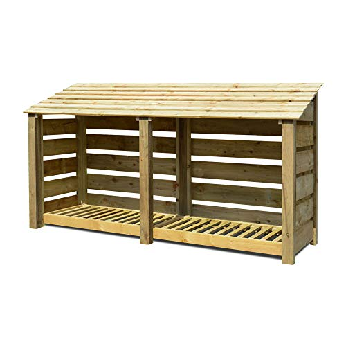 Rutland County Garden Furniture Normanton 4ft Tall Log Store/Garden Storage Heavy Duty Pressure Treated Timber With Forward Sloping Roof (Slatted Log Store With Kindling Shelf, Light Green)