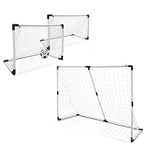 Mondo Toys - Goal Post 2 in 1 - Set 1 o 2 Porta da Calcio per Bambini con Rete - Pallone Mini Ball INCLUSO - colore bianco / nero - 18054