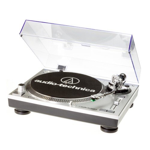 Audio Technica AT-LP120USBHC Plattenspieler mit Direktantrieb inkl. Tonabnehmer AT95E & Headshell AT-HS10 Farbe: Silber