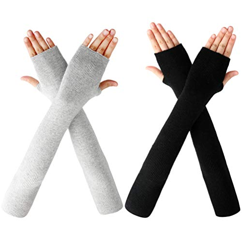 VBIGER Damen gestrickte Armstulpen Feinstrick lang Pulswärmer Warm weiche Handschuhe Handwärmer, 2 Paar