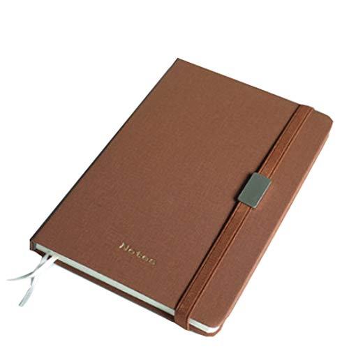 Yanyan Cuaderno de notas de alta calidad A5 de poliuretano, para trabajo, escuela, reuniones de alta gama, literario y artístico, exquisito diario de regalo (color: marrón, tamaño: sin caja de regalo)