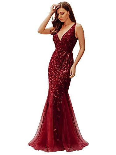 Ever-Pretty Damen Abendkleid Meerjungfrau Pailletten Tüll V Ausschnitt lang Burgund 36