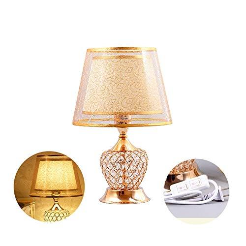 Lámparas de escritorio clasicos Hueco de la lámpara de tabla cristalina, oro minimalista lámpara de mesa moderna, lámpara decorativa mesita de noche con interruptor doble, salón dormitorio de lectura