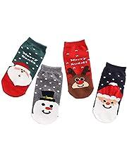 Women Cute Cartoon Christmas Socks Pure Cotton Breathable(4 Pairs)
