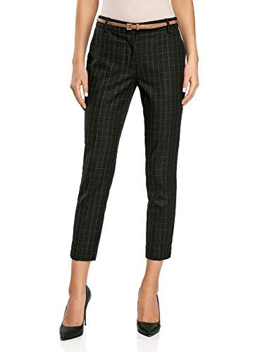 oodji Collection Mujer Pantalones a Cuadros de Tejido Grueso, Gris, ES 36 / XS