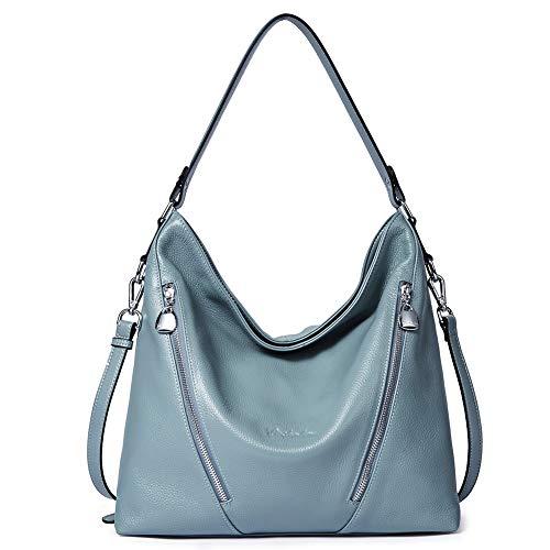 BOSTANTEN Women Leather Handbag Designer Large Hobo Purses Shoulder Bags Blue