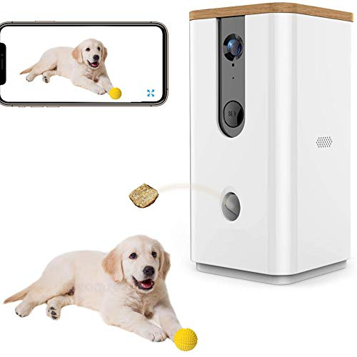 JKGHK Smart-Haustier-Kamera Treat Dispenser, 2.4G WiFi Remote-Kamera-Monitor 720P HD Nachtsicht-Video mit 2-Wege-Audio Entwickelt für Hunde und Katzen, Haussicherheit Pet Monitor (Android/iOS)