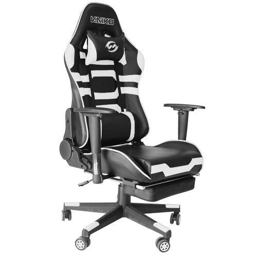 Bürostuhl Gaming Schreibtischstuhl Drehstuhl Race Chair Sportsitz + Beinauflage (GX825 Weiß)