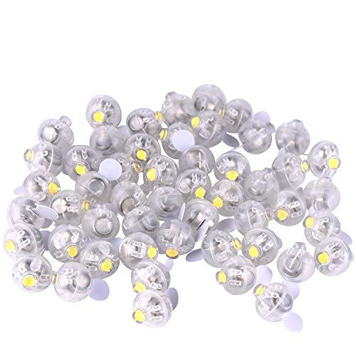 FEPITO 50 Pezzi Mini luci a LED Palloncini Lanterne di Carta Luci Lampada a Sfera Luminosa Gialla per Decorazioni per Feste di Natale