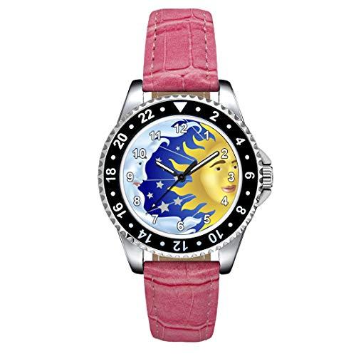 Timest - Sol, Luna y Estrellas - Reloj para Mujer con Correa de Cuero Rosa Analógico Cuarzo SE1823LP