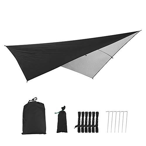 Tienda de campaña lona impermeable Hamaca tienda lona portátil anti-UV refugio Sun Block toldo para camping (290 x 290 cm), color negro