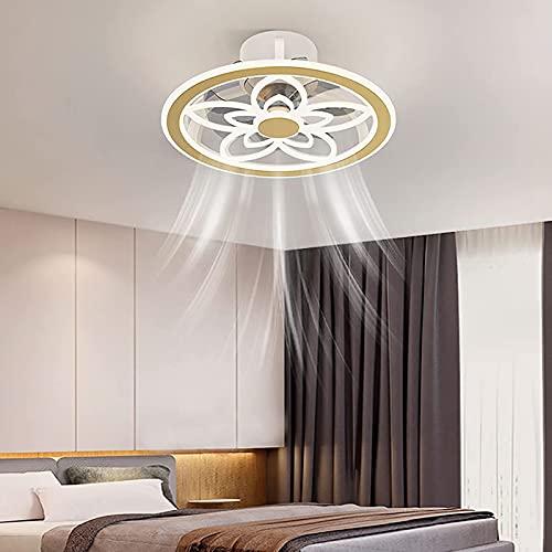 JZlamp Silent 3 velocidades con la luz de Techo de Ventilador Regulable del Dormitorio del Temporizador, Ventilador de Techo LED con luz y Control Remoto, luz de Techo de Tipo de Flor silencioso
