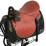 TNNT Komplettes Set mit integriertem Sattel für Pferde, Westernsattel, Sattelzubehör, Ausdauer-Sattel, Reitbedarf, Premium-Leder, bequem, Rot
