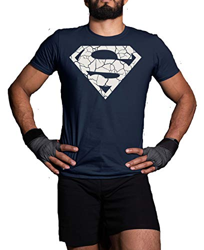 T-shirt Cracked Superman - Maglietta da allenamento da uomo, per adulti e bambini Blu 12-13 Anni