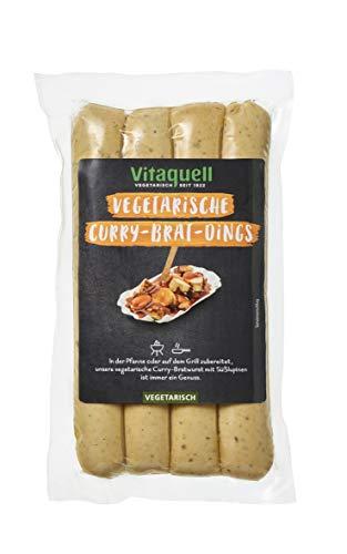 Vitaquell Curry Brat Dings vegetarisch, 4 x 80 g für die Pfanne oder den Grill eine vegetarische Curry Bratwurst mit Süßlupinen