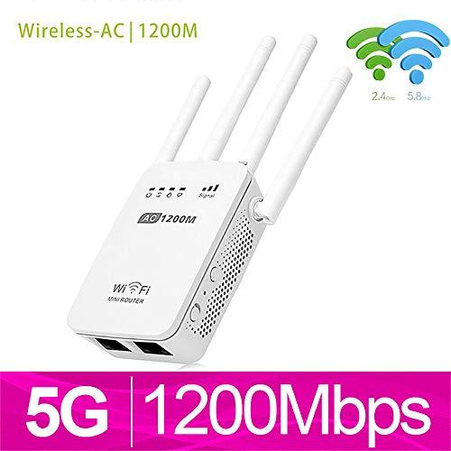 Internet Booster InaláMbrica, Wifi SeñAl De Refuerzo, Potente Router InaláMbrico 2.4G 1200Mbps AC / 5G Repetidor WiFi Con Antena De Alta Ganancia Puente Amplificador De La SeñAl