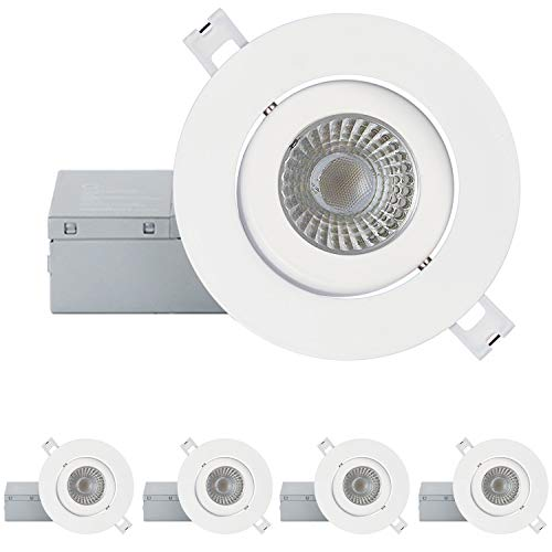 QPLUS 4 Inch Ultra-Thin Adjustable Eyeball Gimbal LED Recessed Lighting with Junction Box/Canless Downlight, 10 Watts, 750lm, Dimmable, Energy Star and ETL Listed (3000k Warm White, 4 Pack)