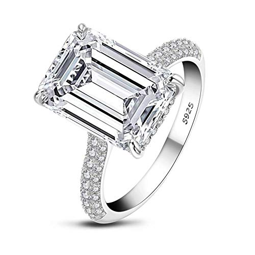 AINUOSHI 6ct Emerald Cut CZ Simulated Diamond Wedding Engagement Ring Women 925 Sterling Silver 18K White Gold Plated