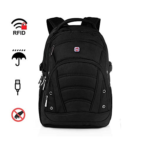Laptop Backpack 17.3 Inch Extra Large Shockproof 1680D Heavy Duty Black Rucksack with USB Port/Anti-Theft RFID, Waterproof Laptop Bag with Raincover for Travel College Work Rucksacks for Men Women