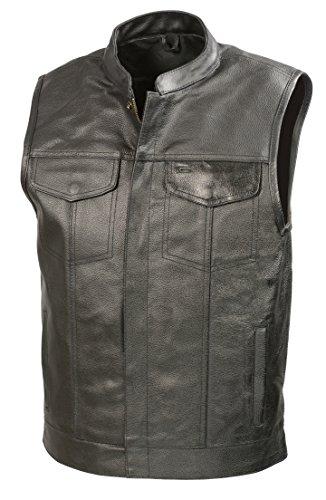 SOA Mens Leather Club Style Vest W/Concealed Gun Pockets, Cowhide Leather Biker Vest, Single Panel Back (Black, L)