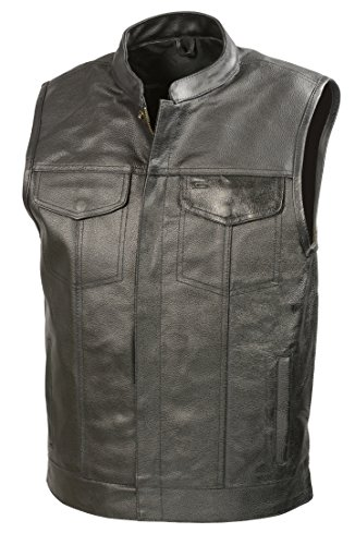 SOA Mens Leather Club Style Vest W/Concealed Gun Pockets, Cowhide Leather Biker Vest, Single Panel Back (Black, L)