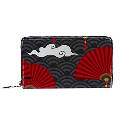 XCNGG Cartera con cremallera para mujer y bolso de mano para teléfono, bolso de viaje, bolso de mano de cuero, tarjetero, organizador, muñequeras, carteras, abanicos plegables chinos rojos en onda chi
