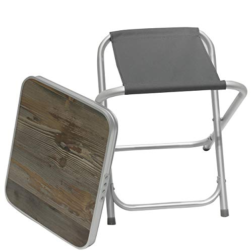 Homecall Folding camping stool Alu with grey 600D polyester MDF table top