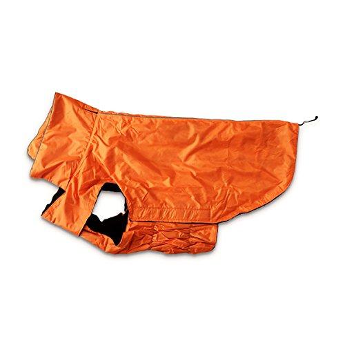 Hugooo wasserdichte Hundemantel Jacke, Gefüttert Fleece Wärmere Kleidung für Sehr Große Hunde Raincoat Leichtbau mit Bauchschutz XXXL - Orange Große 57CM Lange