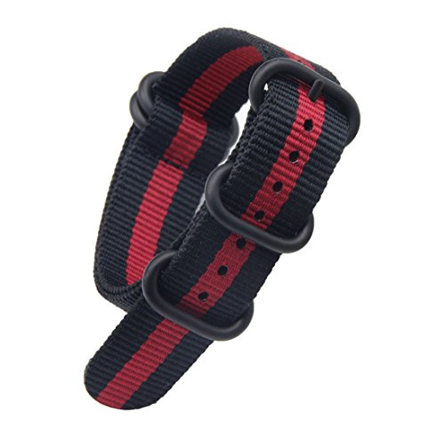 22 mm Rojo Estilo Negro/Robusto exótico Deporte de Nylon Tipo Reloj Pulsera de los Hombres